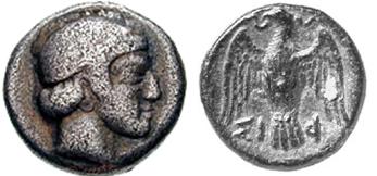 Σιφνέικο νόμισμα με απεικόνιση του Απόλλωνα
