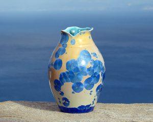 crystalline-vase-blue-on-orange_sifnos-stoneware